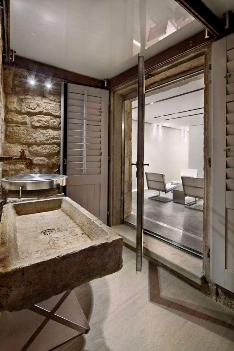 lavabo habitacion casa moderna rocas