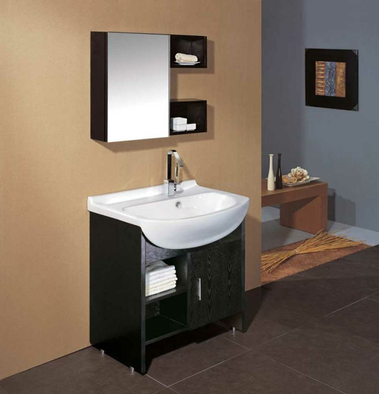 lavabo estilo moderno madera negra
