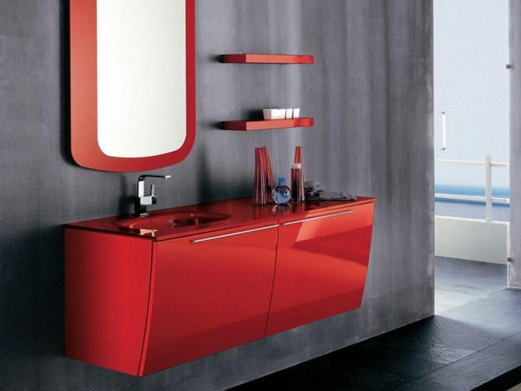 lavabo estilo moderno rojo brillante