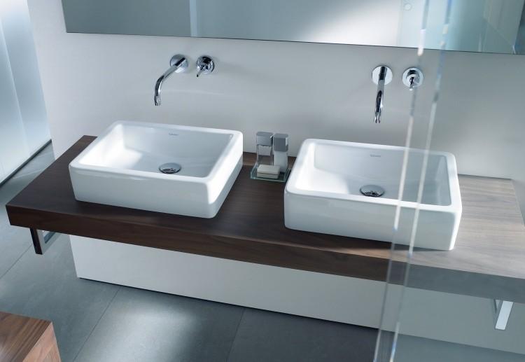 lavabos porcelana blancos encimera madera