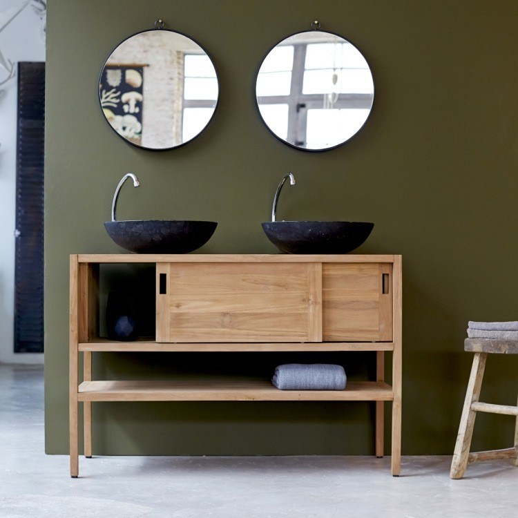 lavabos negros sobre encimera madera
