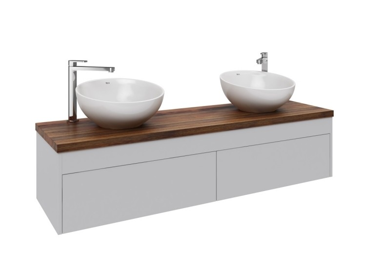 lavabos redondos blancos encimera madera