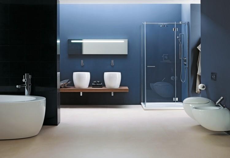 lavabos sobre encimera diseño azul