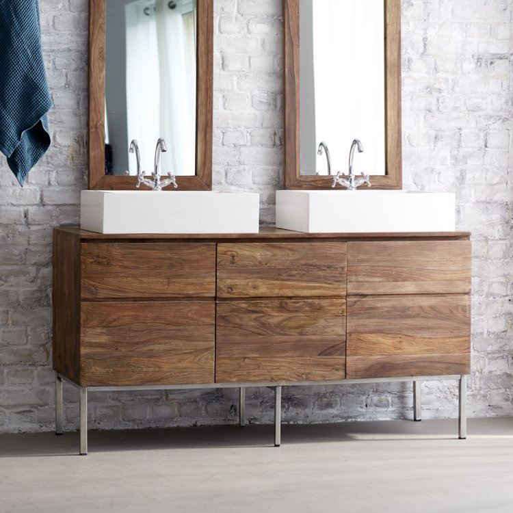 lavabos sobre encimera laminado madera