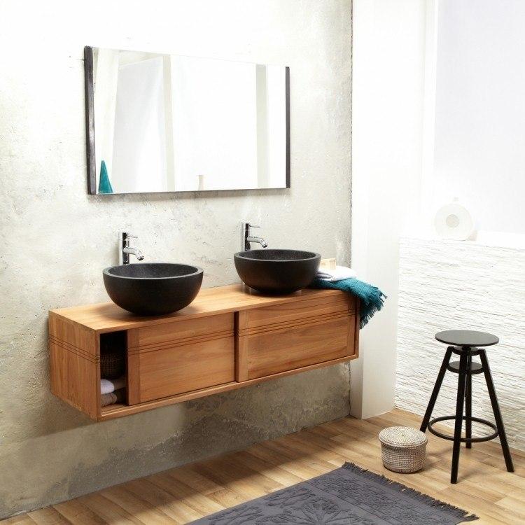 Lavabos sobre encimera modernos 50 ideas - Encimeras de madera para bano ...