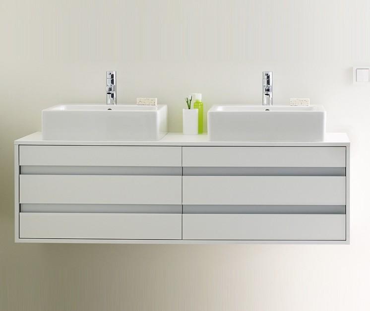 lavabos sobre encimera mueble blanco