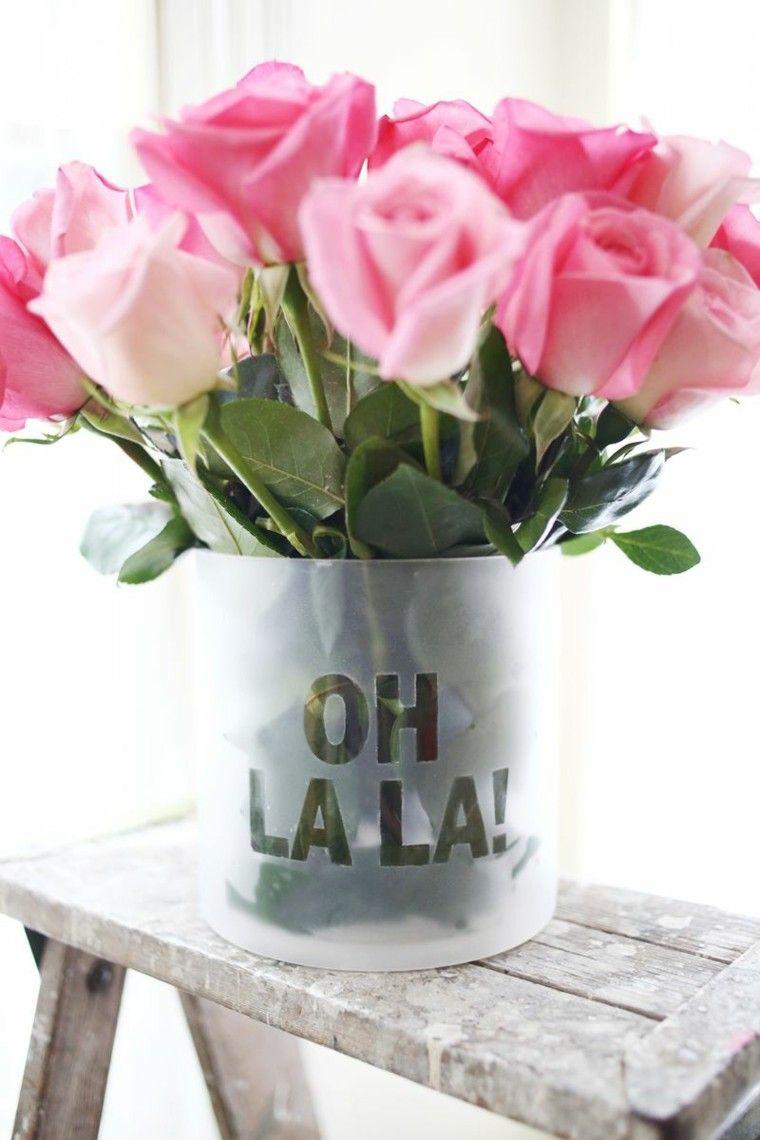 letras vaso diy decoracion rosas