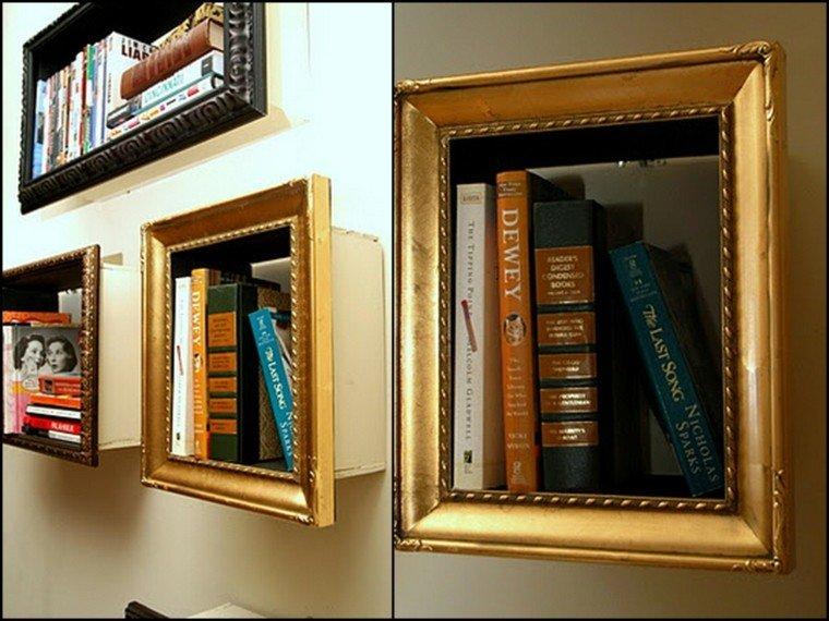 libros dorado estantes casa enmarcado