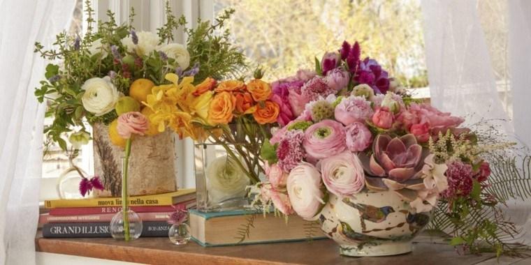 libros paisaje decorativo flores elegante