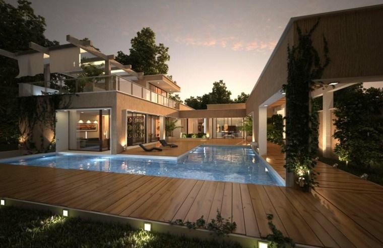 luces estantes enredaderas agua piscina