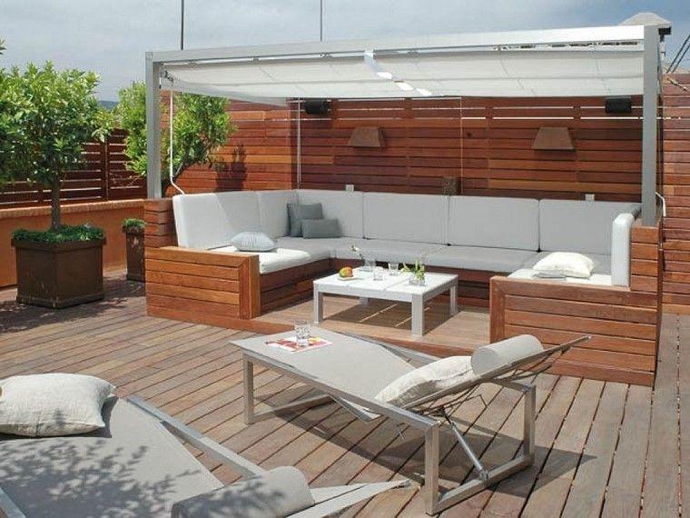 P rgolas jardines terrazas con estilo muy modernas for Asientos para terrazas