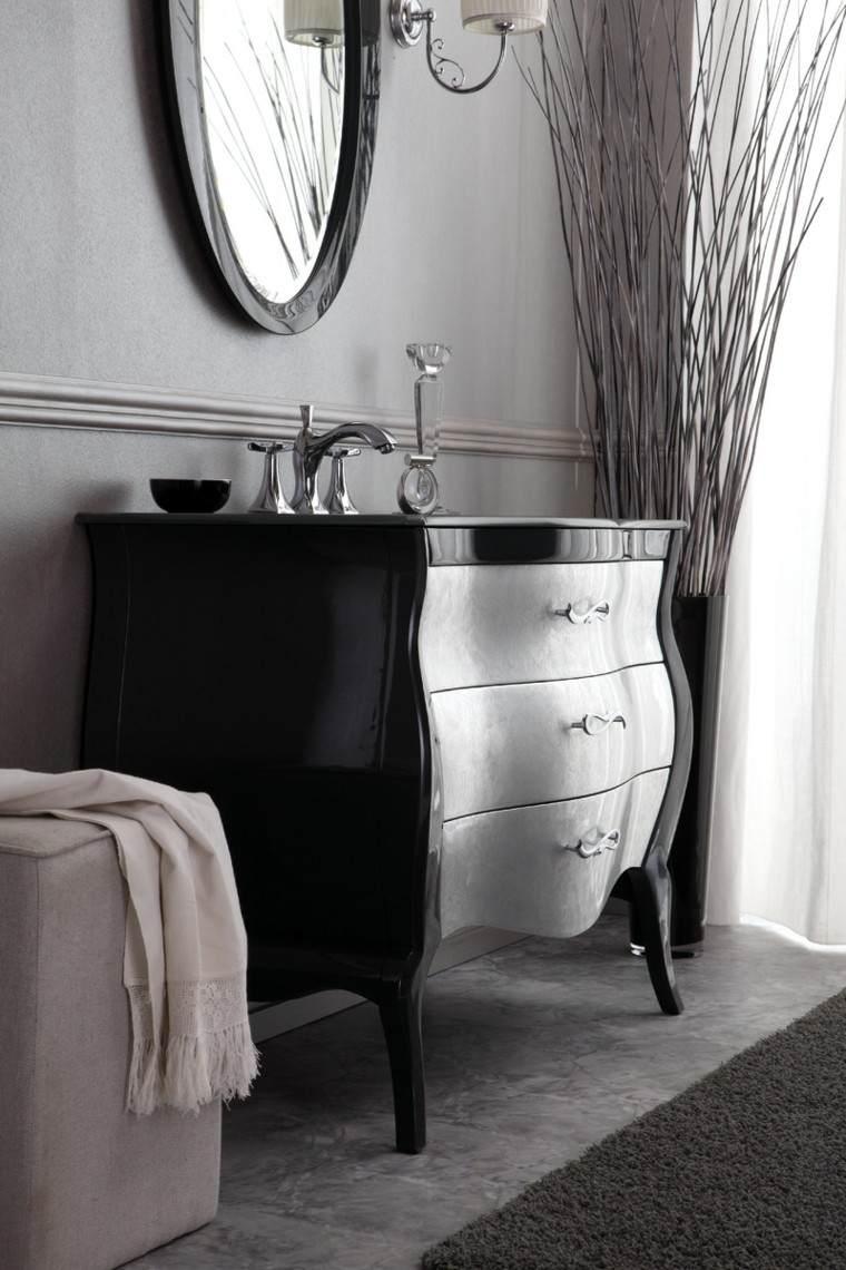 maceta grande espejo negro bano armario ideas
