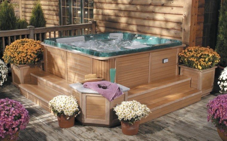 macetas decorativas jacuzzi jardin flores ideas