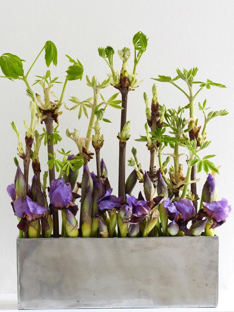 macetas acero flores preciosas purpura ideas