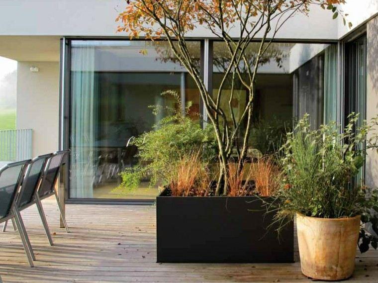 macetas jardineras combinacion jardin moderno ideas
