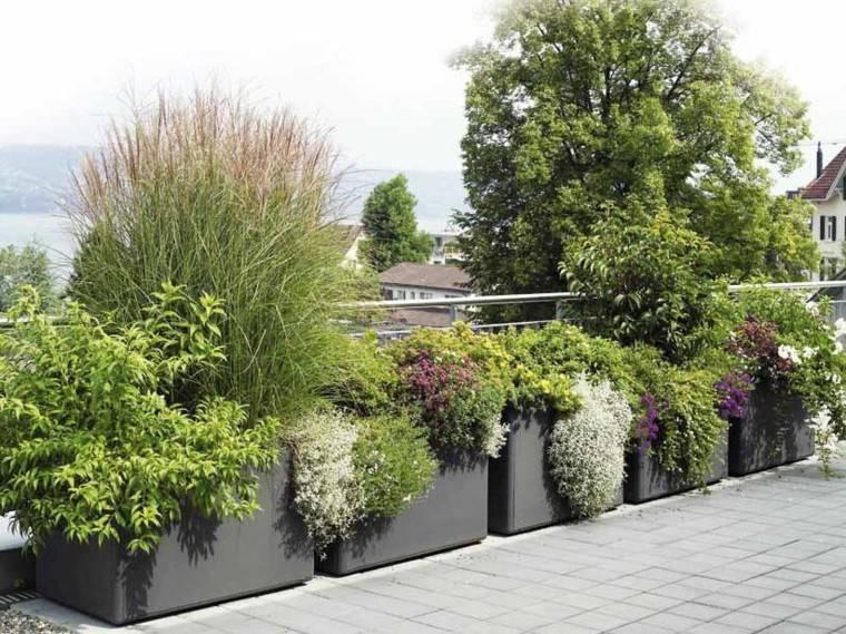 macetas jardineras terraza moderna color negro ideas