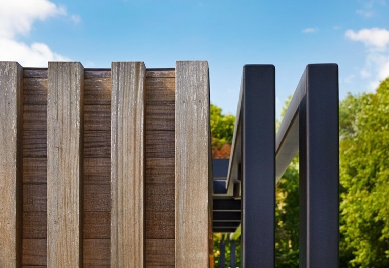 madera acero pergola descanso aire libre ideas