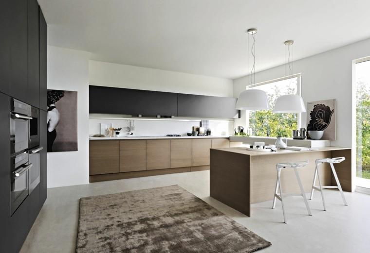 madera cocina encimeras armarios pared negros ideas