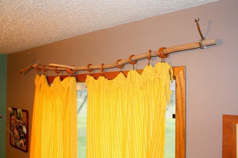 madera cortina estante amarillo casa