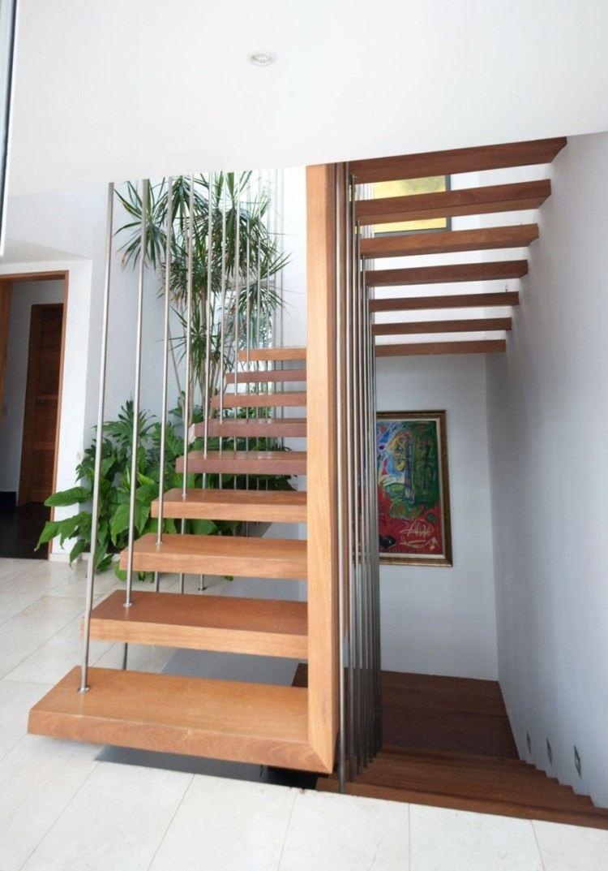 Escalera flotante 50 dise os que no te puedes perder - Disenos de escaleras de madera para interiores ...