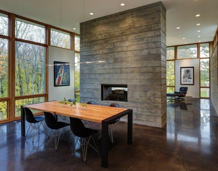 madera mesa chimenea diseño casa amplia
