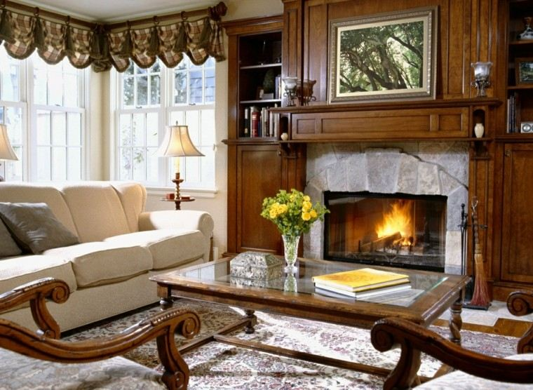 madera muebles salon elegante chimenea