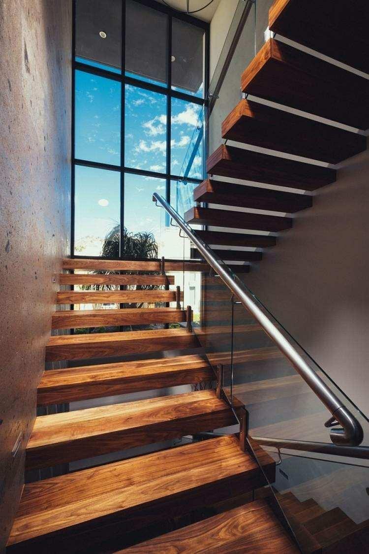madera pasamanos escalera nueva metal