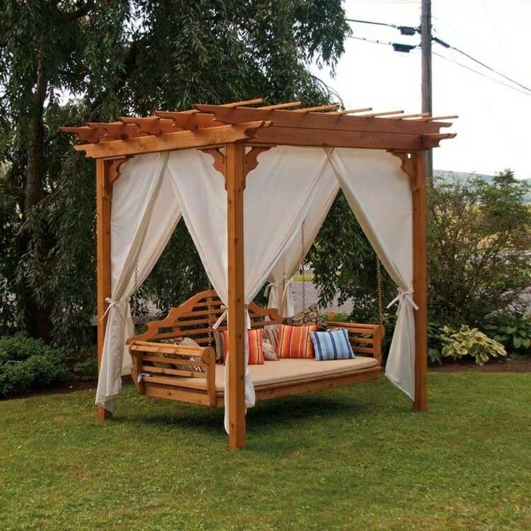 madera pergola especial modelo cortinas