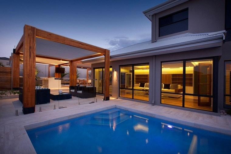 madera solida exterior pergola piscina