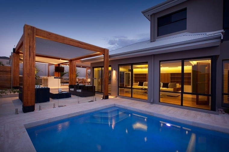 solid wood exterior pergola pool