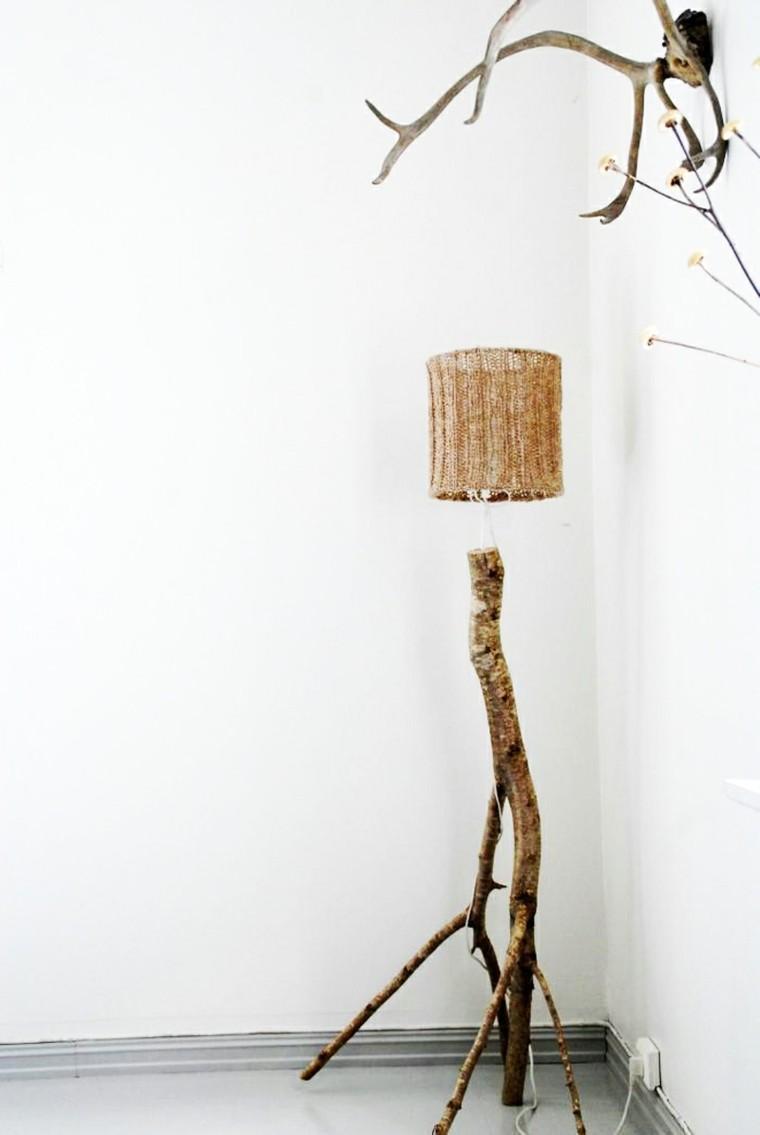madera troncos naturales artesanal lampara