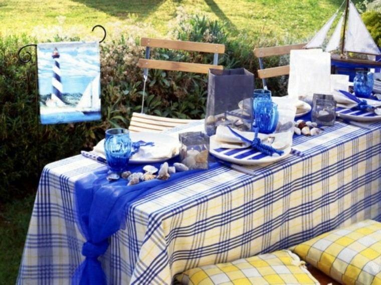 mantel decoracion estrellas verano azul