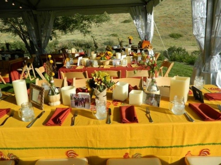 manteles amarillos deco fiesta jardin