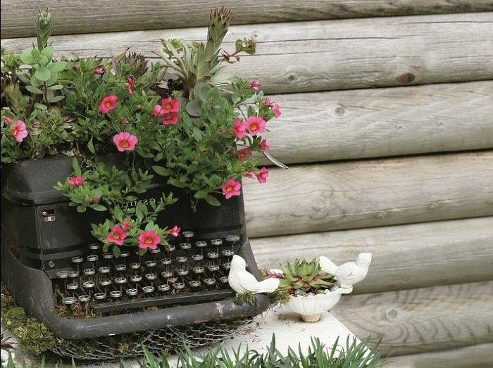 manualidades faciles maquina escribir plantas