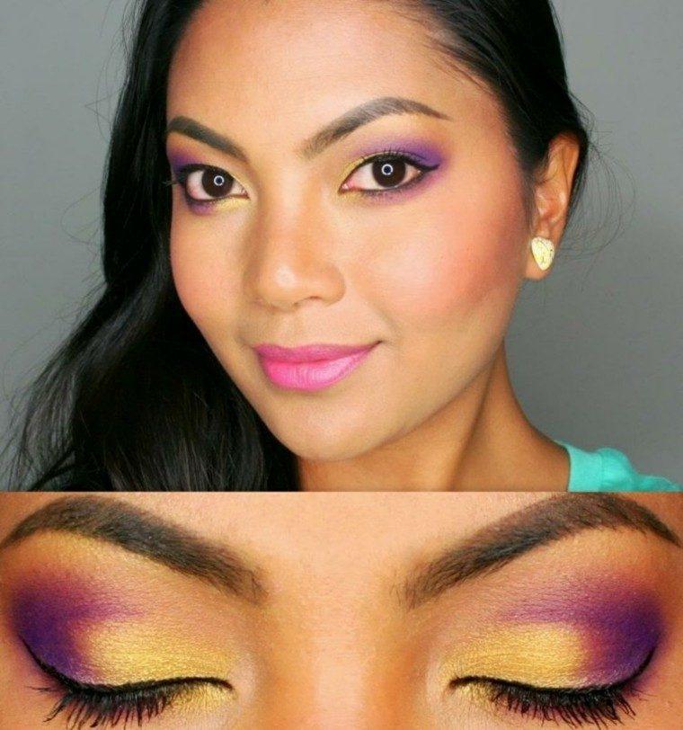 maquillaje de ojos asiatica rosa chica