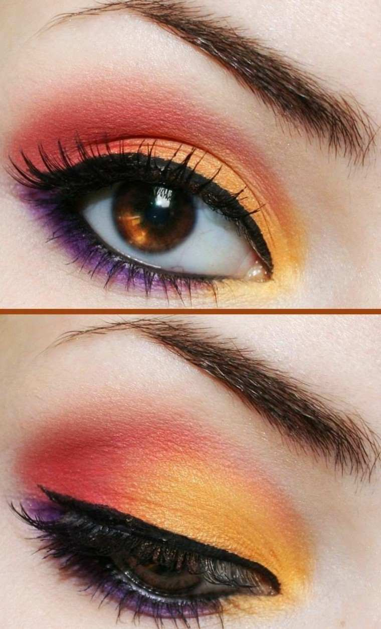maquillaje de ojos colorido verano naranja