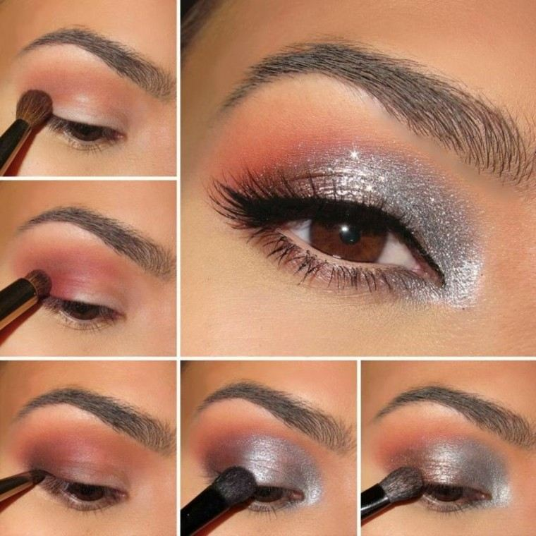 maquillaje de ojos pasos plateado elegante