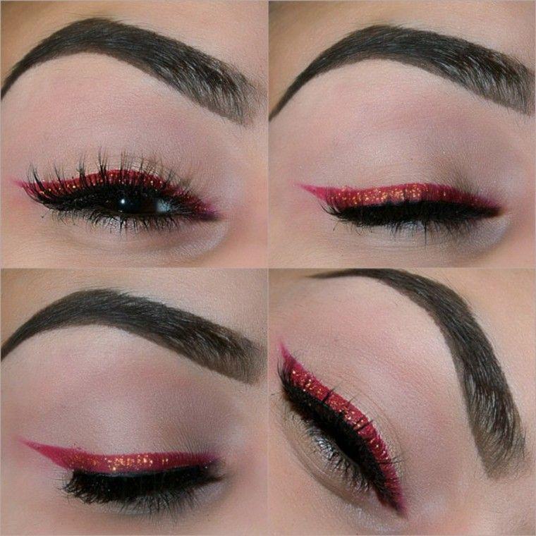 maquillaje de ojos rojo negro delineado