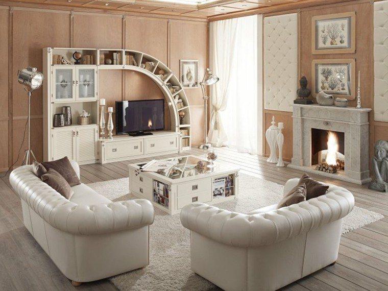 mar muebles salon madera chimenea mesa blanca ideas