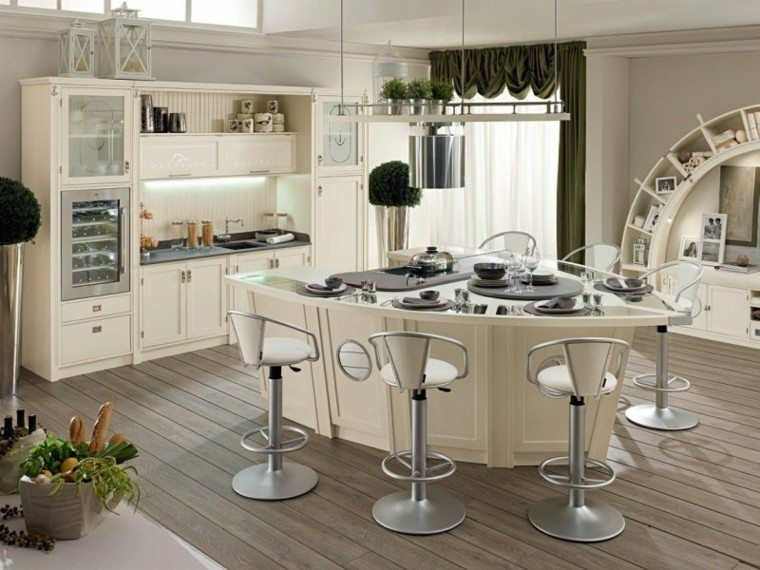 mar muebles madera cocina isla sillas altas ideas