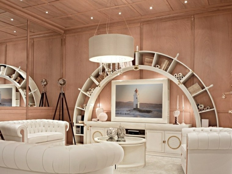 muebles salon madera sillones cuero blanco ideas