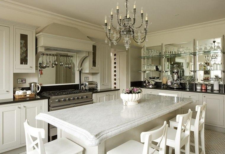 marmol blanco cocina isla encimera sillas blancas ideas