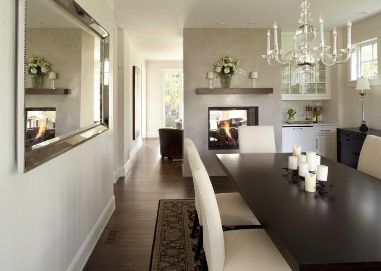 mesa alargado comedor interior velas