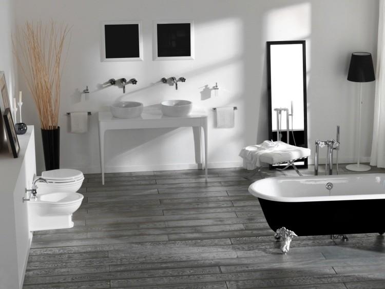 mesa moderna blanca dos lavabos