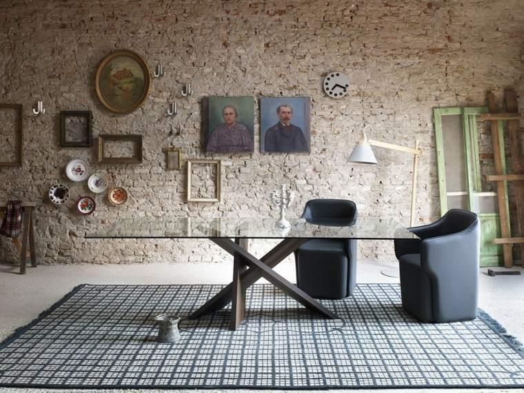 mesa cristal diseno butacas cuero negro ideas