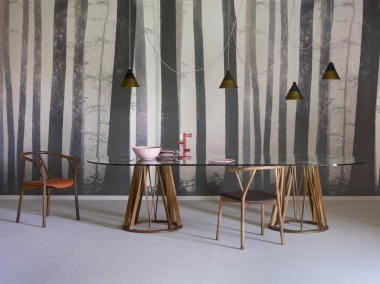 mesa cristal grande diseno sillas modernas ideas