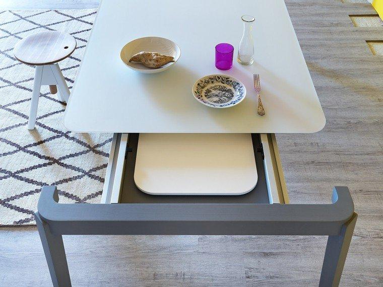 mesa diseno pies azul encimera blanca moderna ideas
