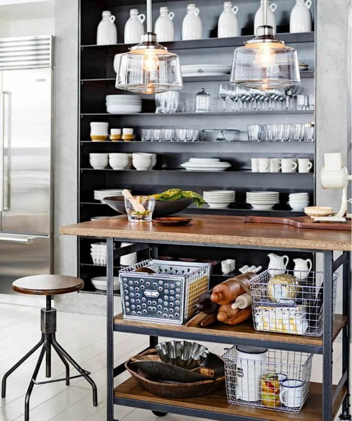 mesa isla utensilios cocina estanterías