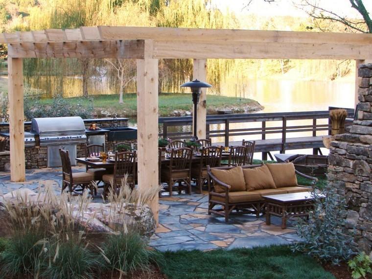 mesa madera grande sillas cocina aire libre ideas