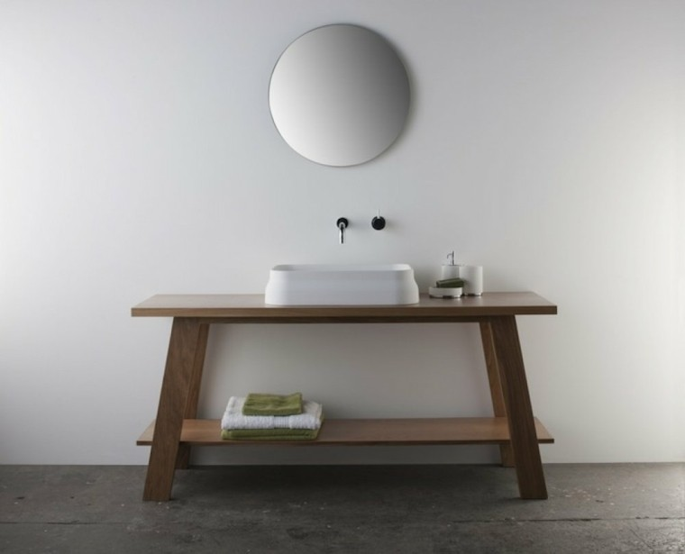 mesa madera lavabo baño moderno